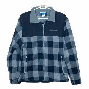 Men's Size Large Black Gray Plaid Fleece Jacket